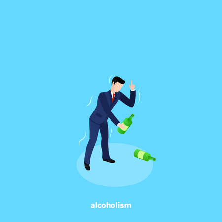 drunk man in a business suit drinking from a bottle of alcoholic beverage, isometric image Ilustrace