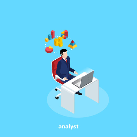 a man in a business suit sits at his desk and thinks of graphs and diograms, an isometric image Illustration