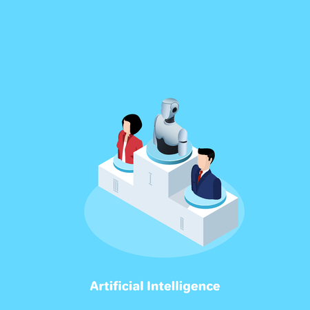 icons of people in business suits and a robot on a pedestal, isometric image Illusztráció