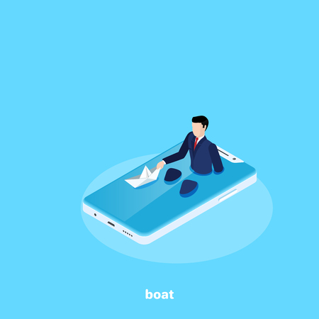 a man in a business suit sits in the smartphones screen as in the bathroom and launches a paper boat, an isometric image