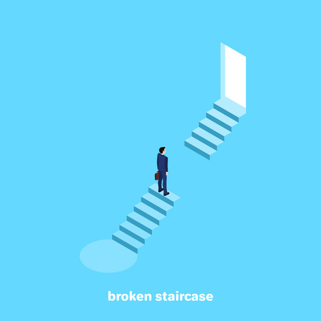 a man in a business suit stands on the edge of broken steps, a barrier to success, an isometric image