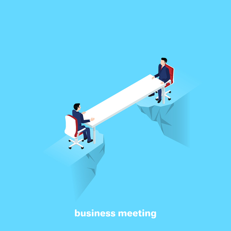 men in business suits sit at a long table over a precipice on opposite sides, an isomeric image Vector illustration. Vectores