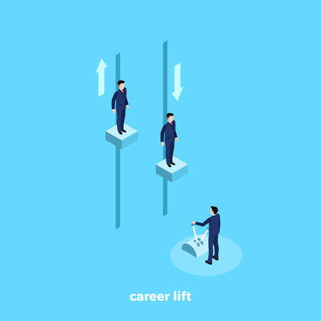 a man in a business suit manages a career elevator, an isometric image Vector illustration.