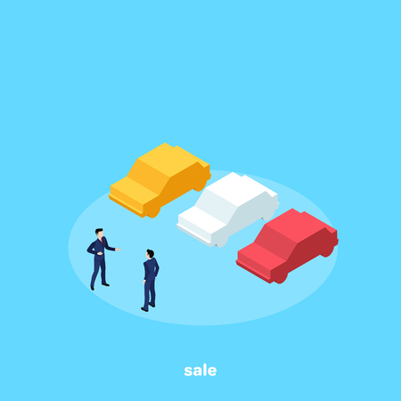man in business suit and cars, salesman, isometric image Vettoriali