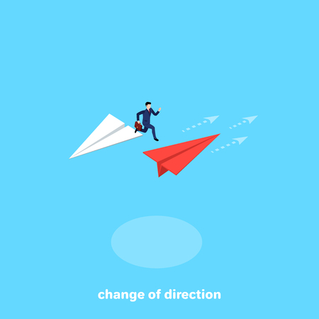 a man in a business suit jumps from one plane to another flying in the opposite direction, an isometric image Vector illustration. Stok Fotoğraf - 99807911
