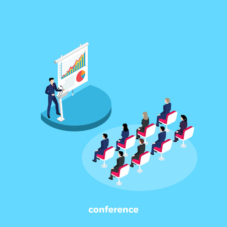 a man in a business suit speaks to the listeners at a conference, an isometric image Vector illustration.