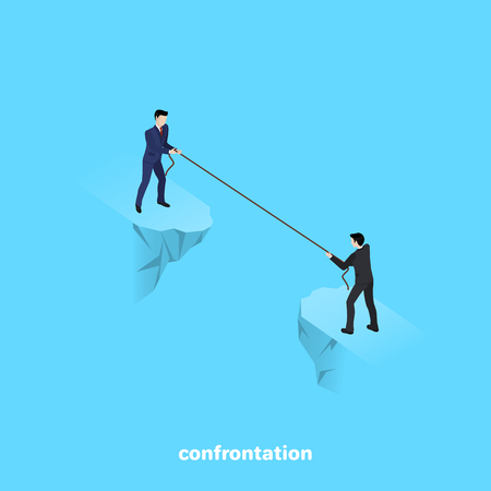 men in business suits standing on the edge of the abyss pulling the rope, isometric image Vector illustration. Stock Illustratie