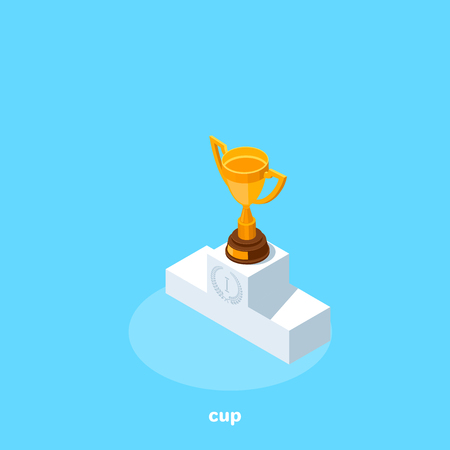 The golden cup stands on the top step of the pedestal, isometric image Vector illustration.