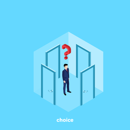 A man in a business suit stands in a room with four doors and thinks which one to go to, an isometric image Ilustração