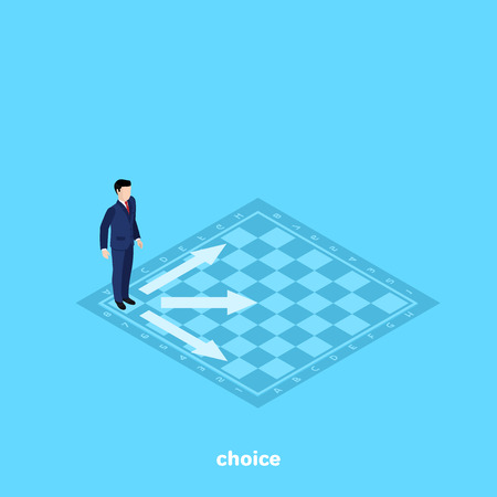 A man in a business suit stands on a chessboard and decides which one to make a move. Illustration