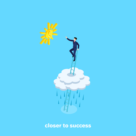 The man in a business suit climbed the stairs above the clouds and stretched toward the sun.
