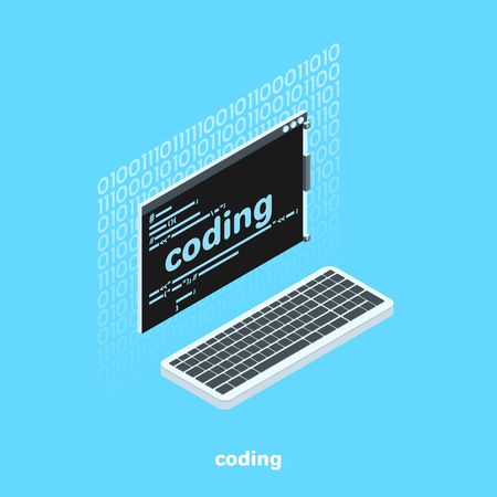 Monitor screen with code and keyboard, isometric image.