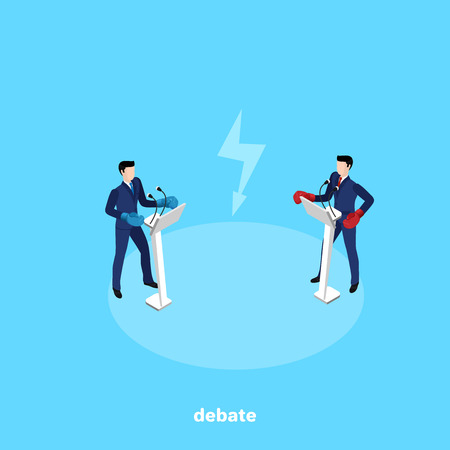 Men in business suits and boxing gloves stand behind the stands with a microphone and conduct debates Ilustrace