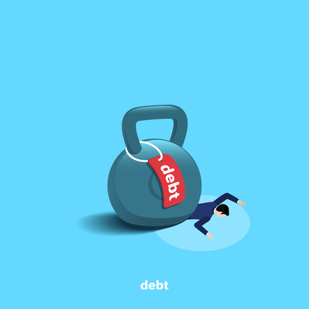weight with a label debt is on a lying man in a business suit, isometric image