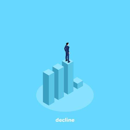 a man in a business suit stands on the diagram before the decline, isometric image Vectores