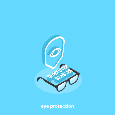 Emblem in the form of a shield with an eye and glasses for working with a computer, an isometric image Illustration