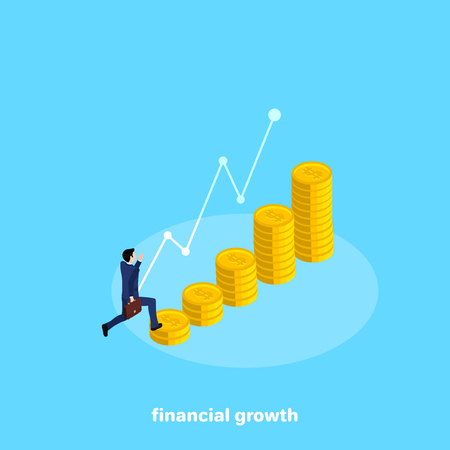 A man in a business suit runs up a rising chart of coins, an isometric image Illustration