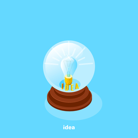 A shining light bulb with a golden cap inside a glass ball with an idea, an isometric image.