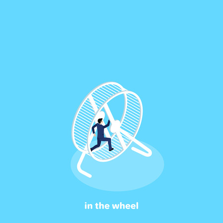 A man in a business suit runs inside the wheel, an isometric image. Illustration
