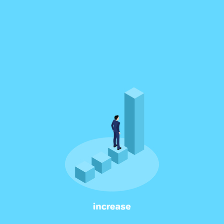 a man in a business suit stands on a chart before a rising column, an isometric image Иллюстрация