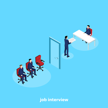 a man in a business suit in the office of a human resources manager gets a job, an isometric image