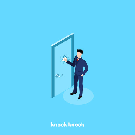 a man in a business suit is knocking at the door, an isometric image