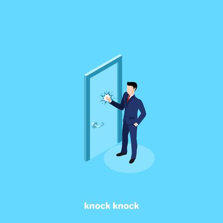 un homme en costume frappe à la porte, une image isométrique