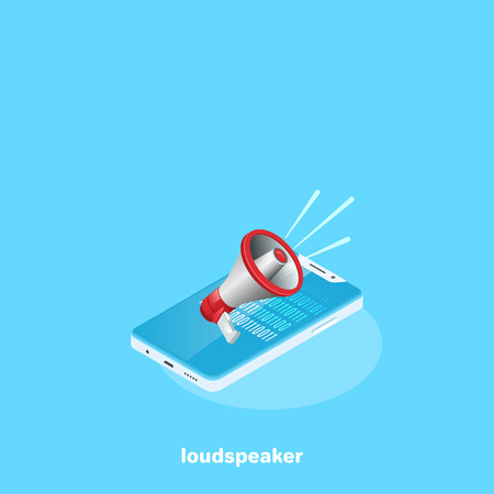 loudspeaker lies on the screen of the smartphone, an isometric image Illustration