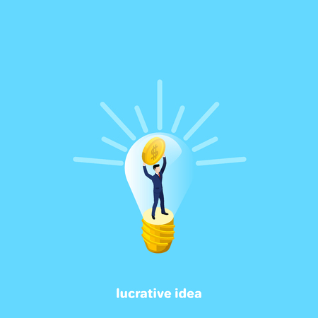a man in business clothes is in the interior of a light bulb with a coin in his hands, an isometric image Illustration