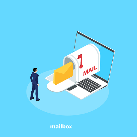 a man in a business suit stands next to a laptop and a mail box, an isometric image