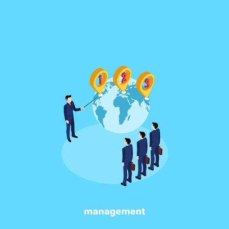 a man in a business suit trains his colleagues in the management of the planet earth, an isometric image Illustration