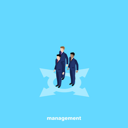 managers in business suits on a blue background, isometric image Vectores