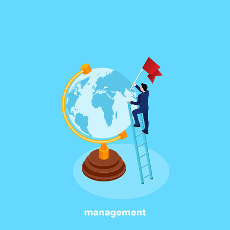 a man in a business suit is standing on a stair near a globe with a flag in his hand, an isometric image Illustration