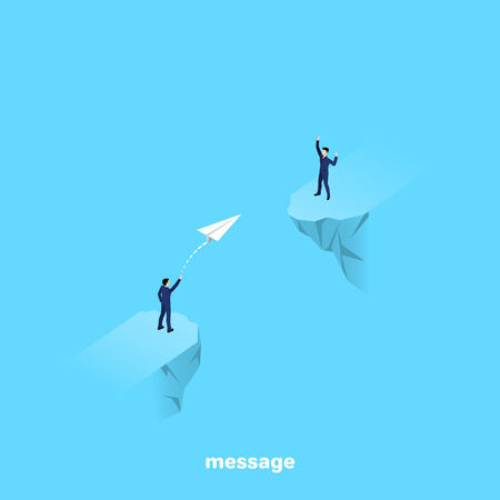a man in a business suit stands on the edge of the abyss and runs a paper airplane, an isometric image