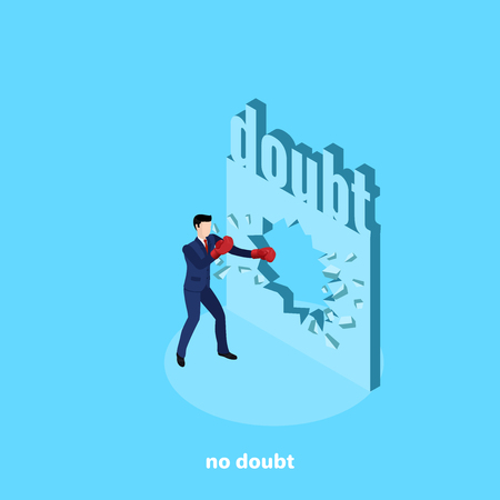 a man in a business suit and boxing gloves breaks the wall of doubts, isometric image Ilustrace