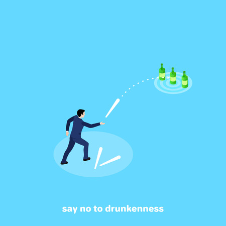 a man in a business suit intends to knock down bottles with a stick, isometric image Illustration