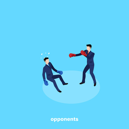 A man in a business suit and gloves sent knockdown his opponent, an isometric image