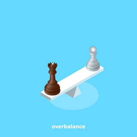 pawn and queen stand on opposite sides of the balance, isometric image