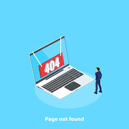 red sign with an error of 404 on the laptop screen, isometric image Stock Illustratie