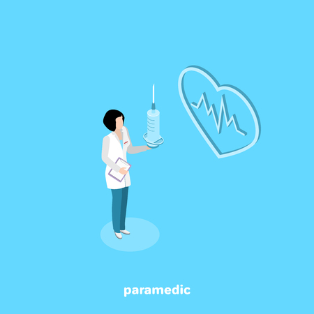 woman paramedic in white lab coat with syringe in hand, isometric image Illustration