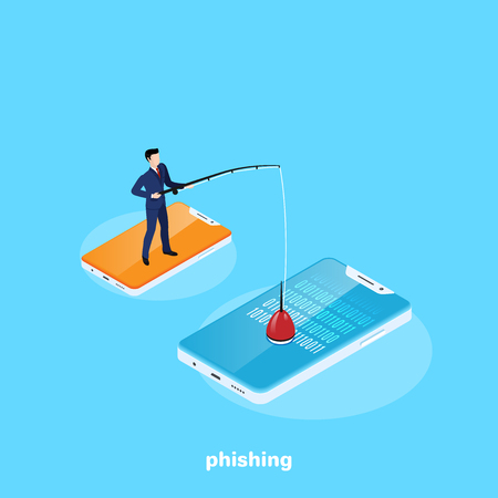 a man in a business suit with a fishing rod in his hand is catching information from someone else's smartphone, an isometric image