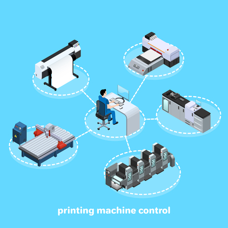 printing machine control, Professional equipment for various types of printing in the field of advertising, offset and digital as well as inkjet and ultraviolet printing, workers are servicing machines in production, isometric image 일러스트