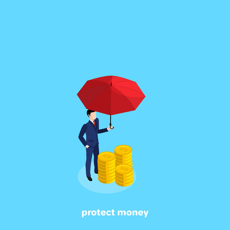 a man in a business suit stands next to a pile of coins holding a red umbrella above them, an isometric image