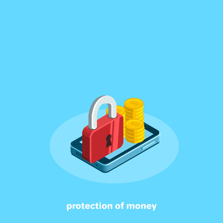 money and a red lock lie on the smartphone screen, isometric image