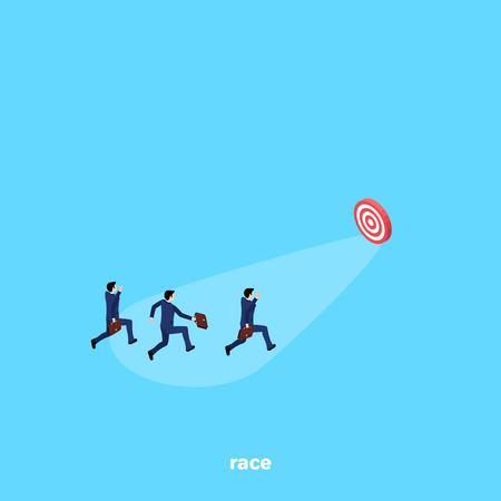 men in a business suit run for distillation to the target on a blue background, isometric image