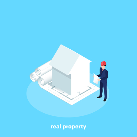the house stands on the drawings and next to it there is a man in a business suit with a drawing in his hands, real property , an isomeric image Иллюстрация