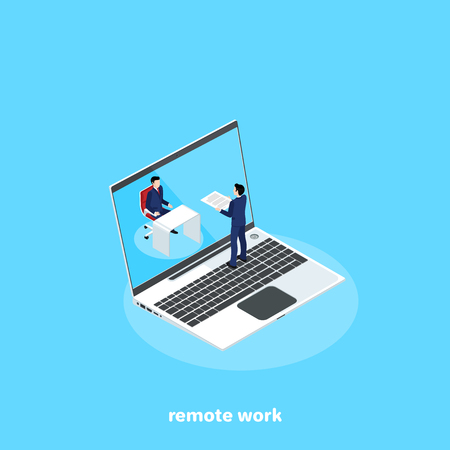 man in a business suit working remotely on his laptop, isometric image
