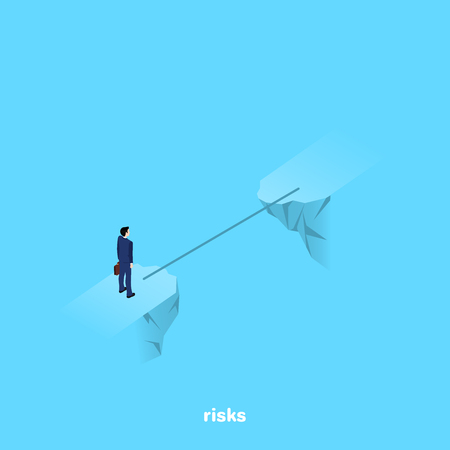 A man in a business suit stands on the brink of a precipice through which a thin bridge, an isometric image Çizim