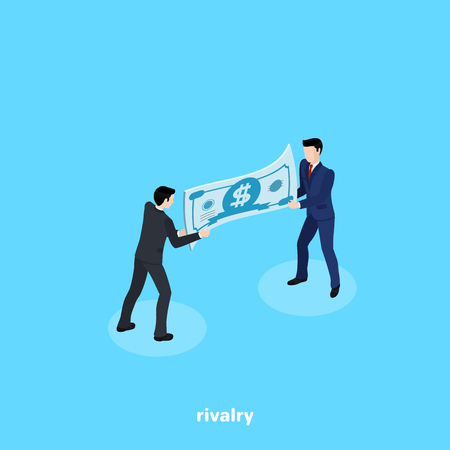 Men in business suits fight for money, isometric image