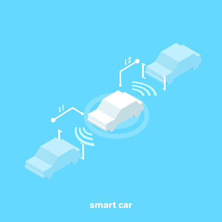 Smart car with sensors for a safe distance while driving, isometric image